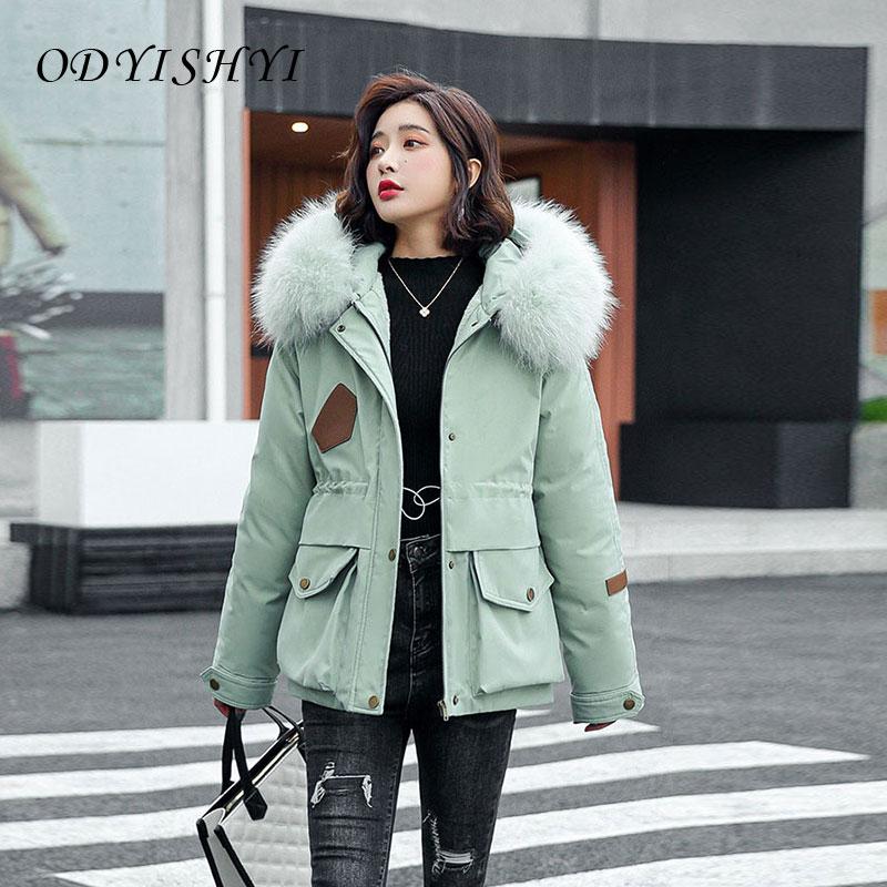 Женская зимняя куртка, новинка 2021, модное хлопковое пальто, Толстая теплая Свободная верхняя одежда, куртки с большим меховым воротником и к...