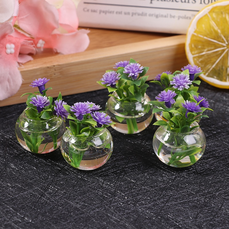 1 12 dollhouse miniature potted plant ceramic pot brasiletto 1:12 Dollhouse Miniature Simulation Potted Plants Green Mini Tree Potted For Green Plant In Pot Doll House Furniture Home Decor