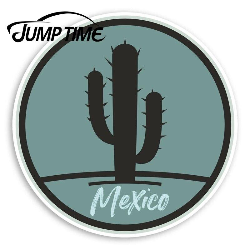Pegatinas de vinilo de Cactus México Jump Time, pegatina mexicana de viaje, etiqueta impermeable para coche, accesorios para maletero o coche