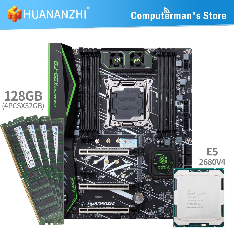 HUANANZHI X99 F8 X99 اللوحة طقم كومبو وحدة المعالجة المركزية إنتل سيون E5 2680 V4 ذاكرة 4*32G DDR4 ECC 2133 ذاكرة M.2 NVME USB3.0 ATX