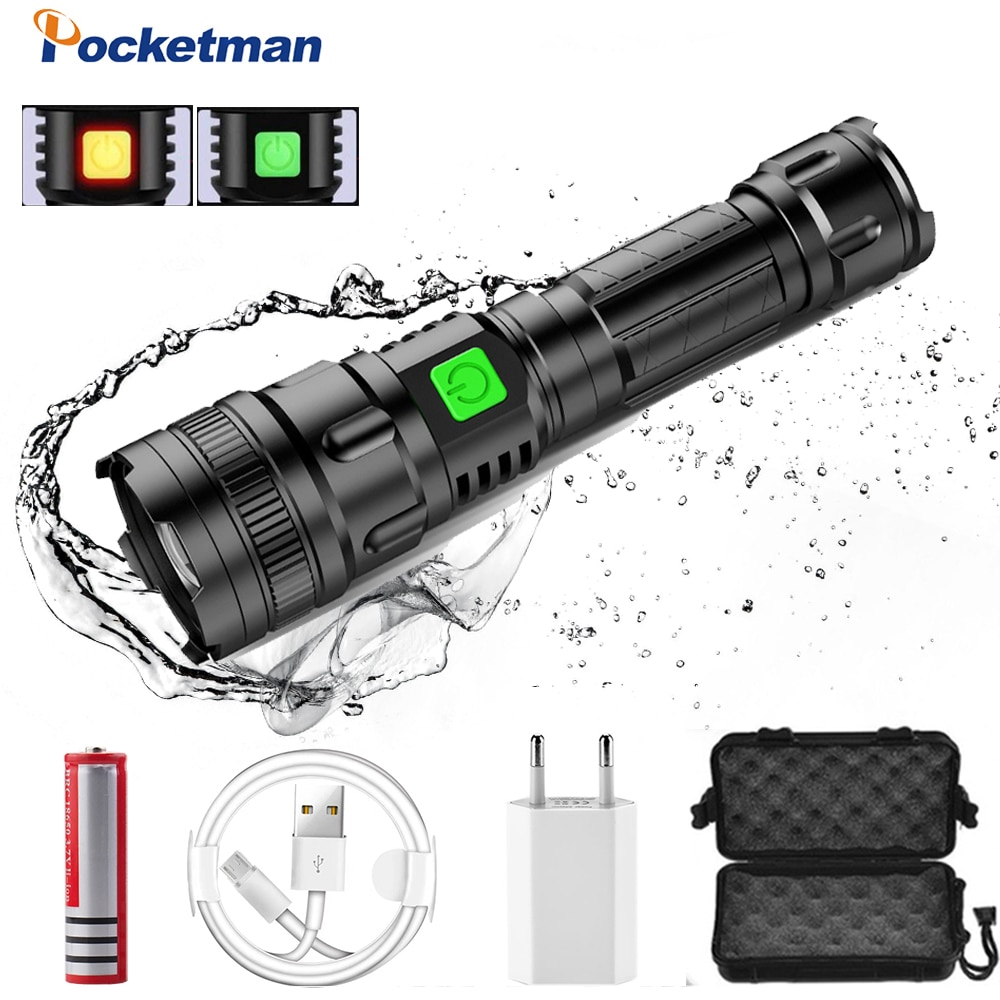 60000lm LED Flashlight USB Rechargeable Flashlight Power Tips Zoomable Torch Lanterna 18650 Battery Perfect for Camping Hiking