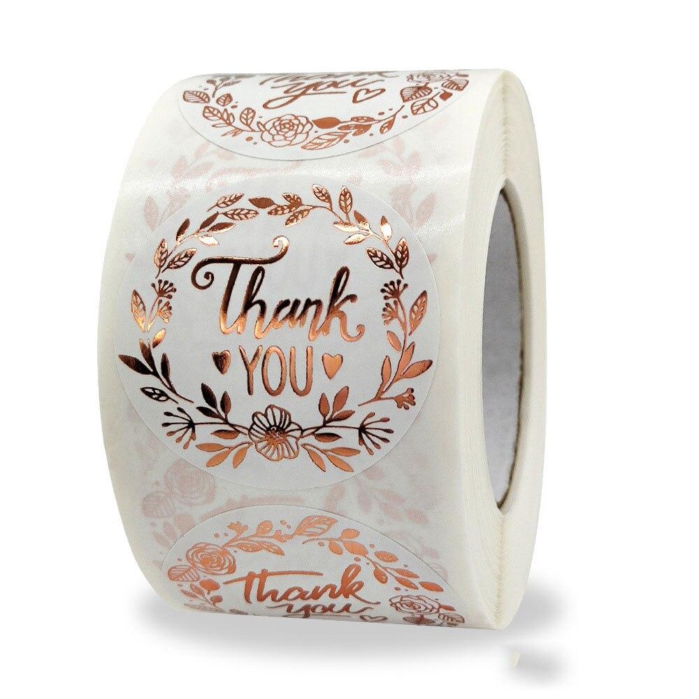 Qiduo спасибо за Цветочные Утюги цвета розового золота Стикер бизнес подарки свадебные декоративные стикеры наклейки оптом пользовательские...