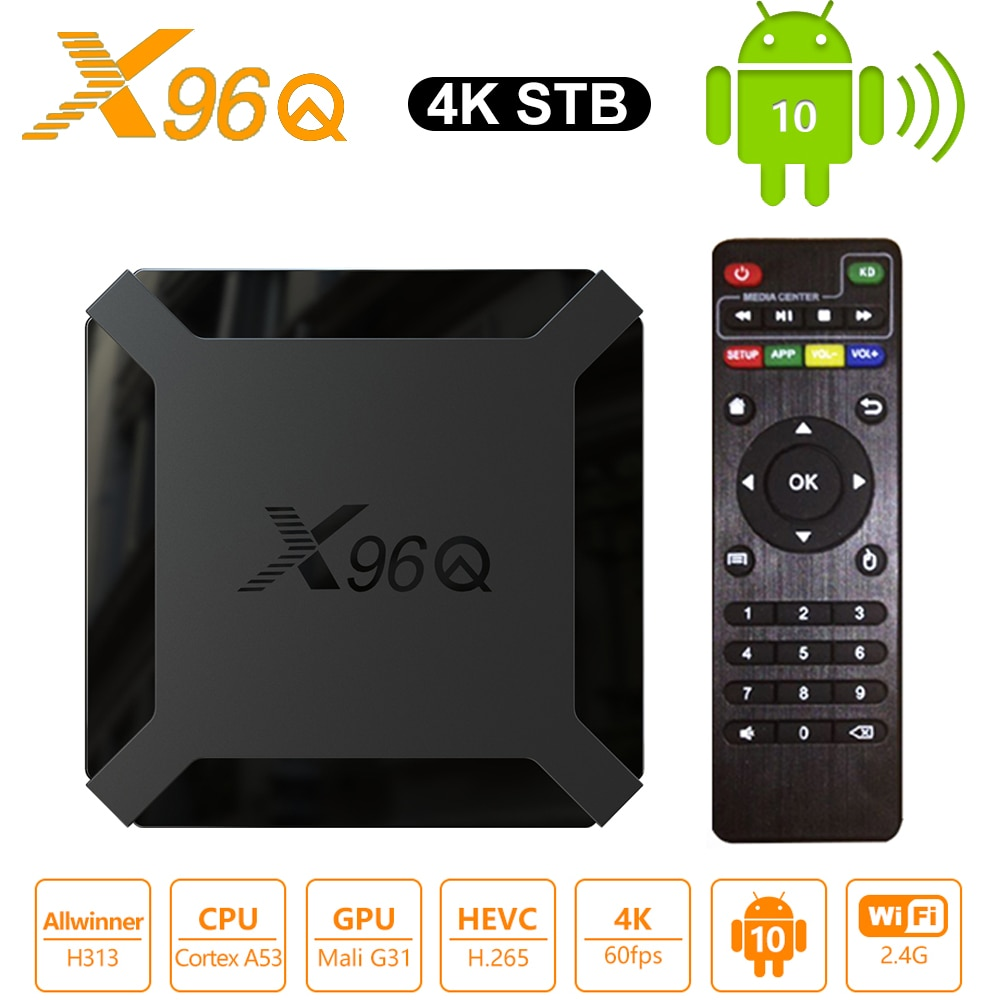 X96Q Smart Android 10.0 TV BOX 2GB RAM 16GB ROM Allwinner H313 Media Player 2.4G wifi 4K HD Set Top Box 1GB 8GB vs X96 Mini