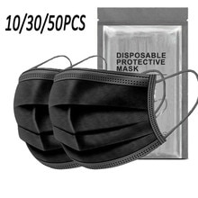 Black 3-ply Good Quality Disposable 3-ply Breathable Face Ma Sk Lips Care Ear Loops Disposable Msk T