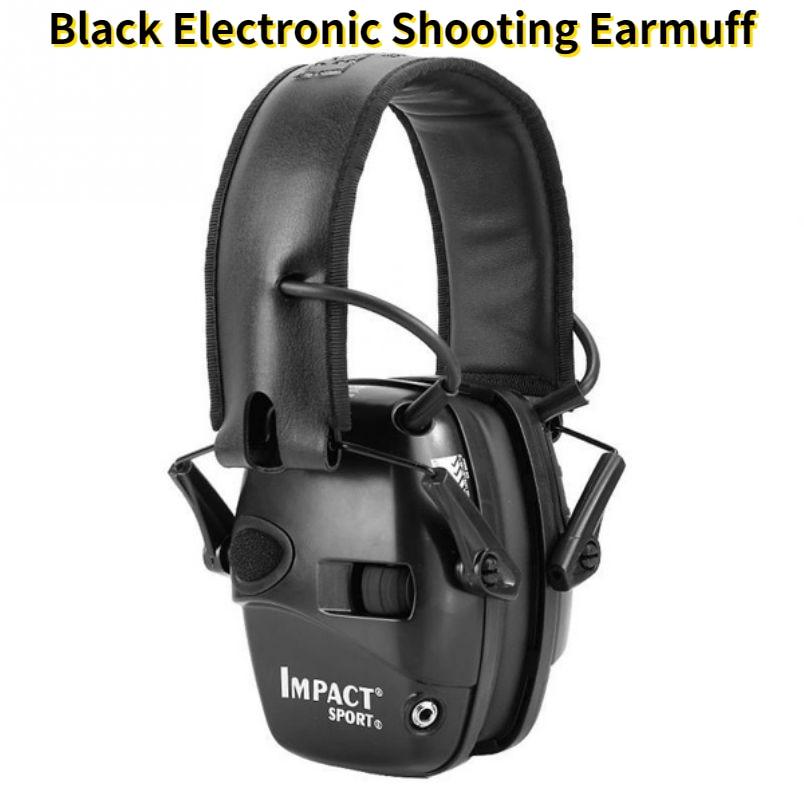 سماعات أذن إلكترونية سوداء مضادة للضوضاء سماعة رأس تضخيم الصوت أثناء تكبير السمع واقية تكتيكية للالكترونيات