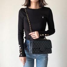 2021 Women Black Sweater New  Ladies O-neck Skinny Blouse  Solid Pullover Femeles Long Sleeve Shirt