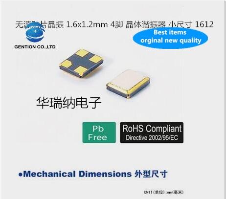 10 pces 100% original novo 8q24010006 1612 oscilador de cristal passivo smd 4 pés 24m 24mhz 24.000mhz 9.5pf