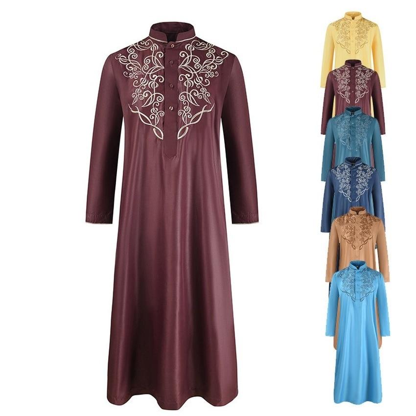 Мужская одежда модная кафтан абайя Мужская мусульманская одежда мужская Jubba Thobe Qamis Мужская Вышивка свободная высококачественная одежда ис...