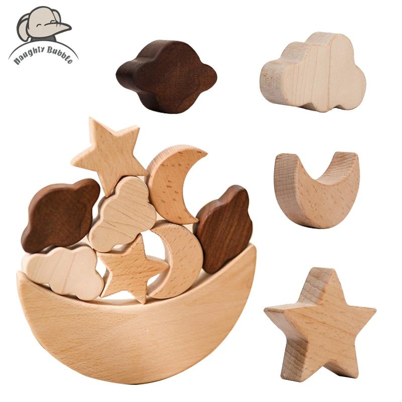 Деревянные блоки Монтессори, звезды, луна, многослойные блоки, деревянные игрушки, детские развивающие игрушки «сделай сам», конструктор дл...