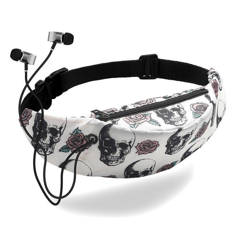 2019 женская сумка на пояс из парусины с цветочным принтом, сумочка для женщин, сумка на пояс с черепом, простая водонепроницаемая сумка на пояс, карман с отверстиями