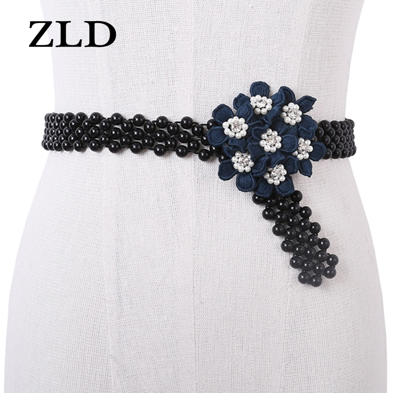 ZLD Women's belt Fashion imitation pearl waist chain skirt Decorative belt Simple versatile elastic band thin belt female gifts
