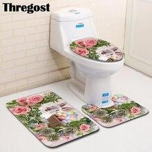 Thregost Non Slip Bath Mat Easter Printed Microfiber Bathroom Floor Rugs Set 3pcs Anti-Slip Washroom Kitchen Toilet Carpet