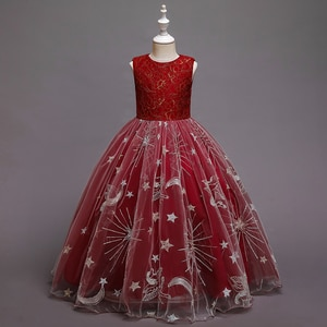 High Grade Lace Kids Wedding Flower Dress Red Ball Gown for Girls Birthday Big Clother of 12 Years Old