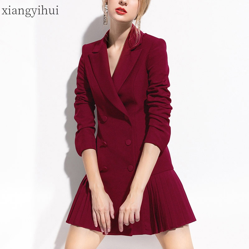 Pleated Notched Collar Dress Fashion Double-breasted Long Sleeve Black High Waist Blazer Dresses Party Office OL Work Dress