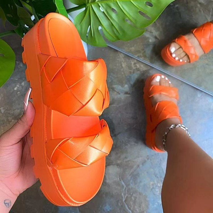 Sandals and slippers female summer new sponge cake thick-soled fish mouth hollow all-match womens shoes personality