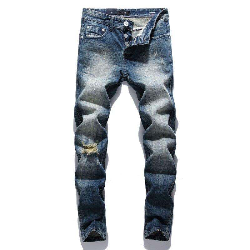 Модные мужские джинсы в стиле ретро, зауженные классические джинсы с вышивкой, рваные джинсы, мужские уличные джинсы в стиле хип-хоп
