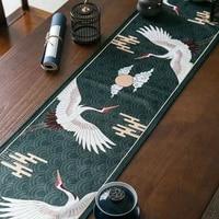 chinese classic velvet table runner dragon crane printed plush tassel runner table cloth royal vintage decorative bed runner