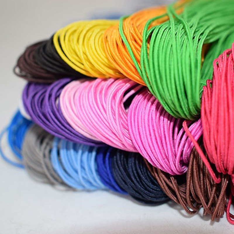 25 metros/lote cordón elástico cuerda de goma Nylon DIY pulsera cuentas cuerdas tiras para el cabello accesorio