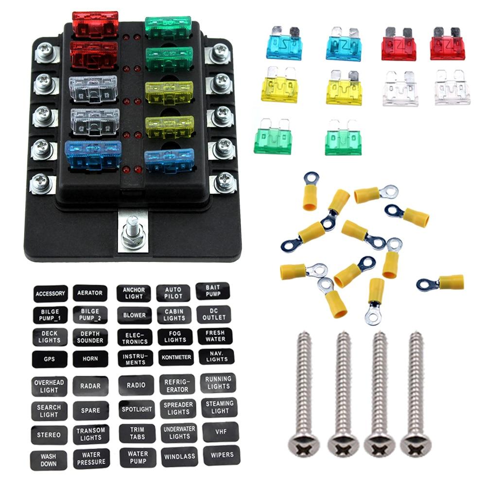 10 vías, soporte de caja de fusibles de cuchilla, bloques de fusibles con indicador LED rojo, 10 uds, terminales de fusibles para coche, barco, caravana, camión 12V 24V