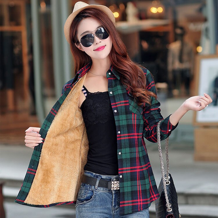 2020 брендовая зимняя теплая Женская бархатная Толстая клетчатая рубашка, стильное пальто, куртка, женская одежда, топы, женская повседневная...