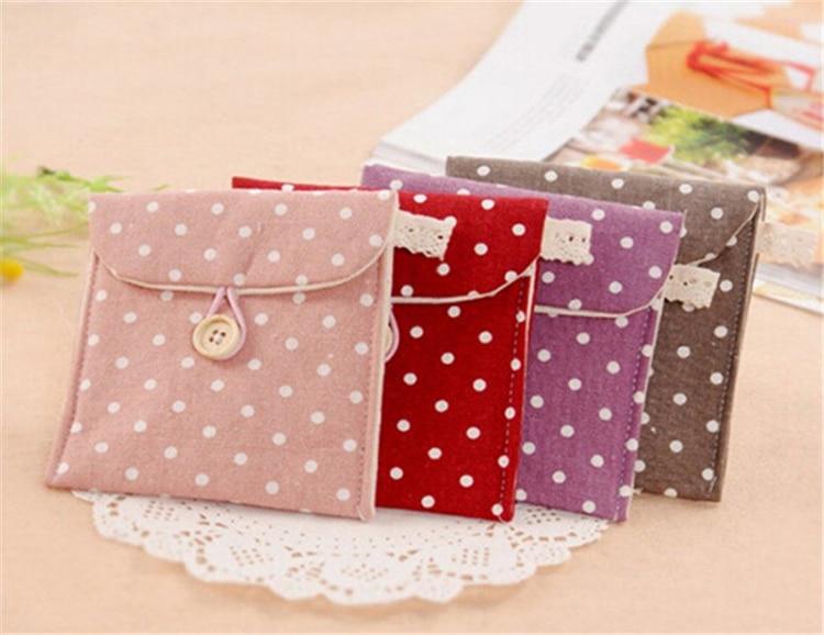 1pc Women Girl Cute Sanitary Napkin Towel Pads Small Bag Purse Holder Organizer Small Dot Packet portable cotton purse