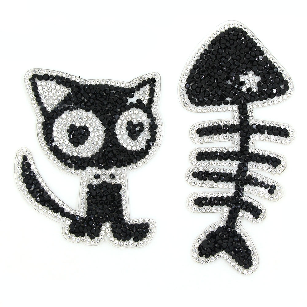 New Chic Cat And Fish Patches Animal Rhinestones Patches For Clothes Black Appliques For Children's Crafts DIY Iron On Patches