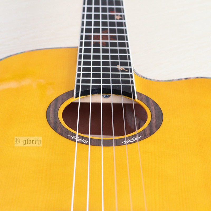 Maple leaf inlays thin body electric classic guitar 39 Inch yellow ashwood high gloss finish 6 string classical guitar enlarge