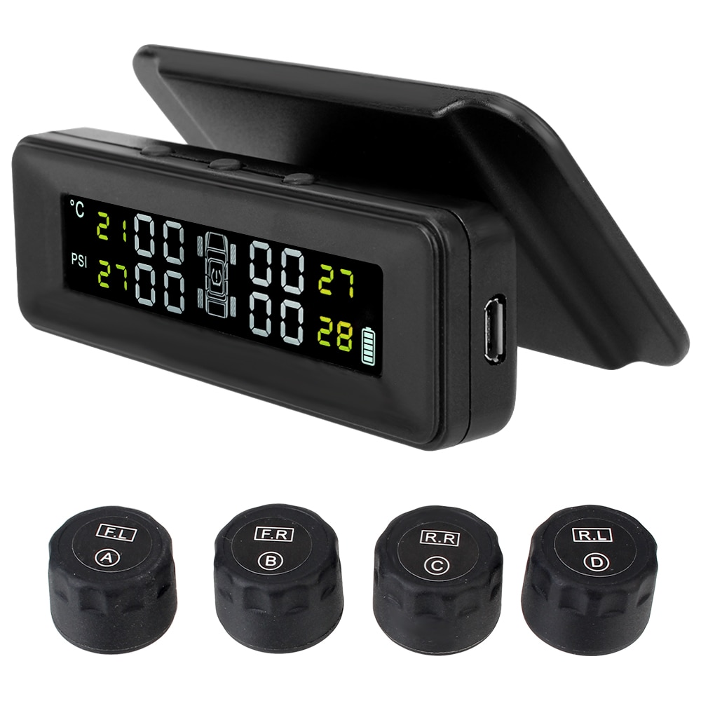 With 4 External Sensors Tire Pressure Monitoring System Auto Security Alarm Solar Power Smart Car Di