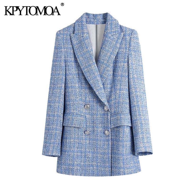 KPYTOMOA Women 2021 Fashion Double Breasted Tweed Check Blazers Coat Vintage Long Sleeve Pockets Female Outerwear Chic Veste