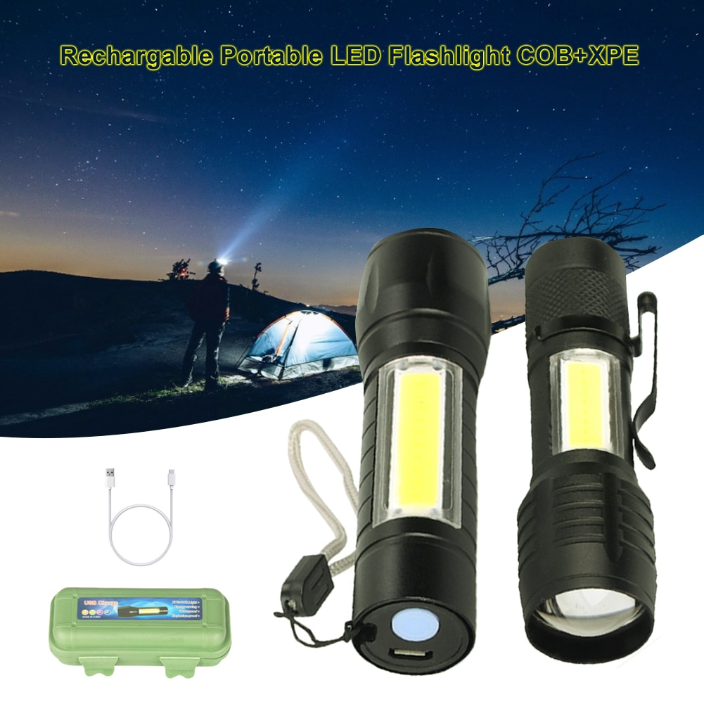 Rechargable Portable LED Flashlight COB+XPE LED Torch Waterproof Camping Lantern Zoomable Focus Light Flashlight for Car Repair