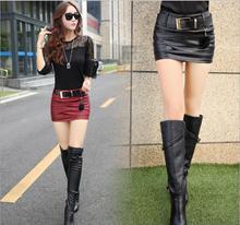 2020 Plain Faux Leather Rok Zwart Mid Taille Met Riem Sexy Pu Rokken Vrouwen Elegant Schede Boven Knie Mini Bodem rood Zwart