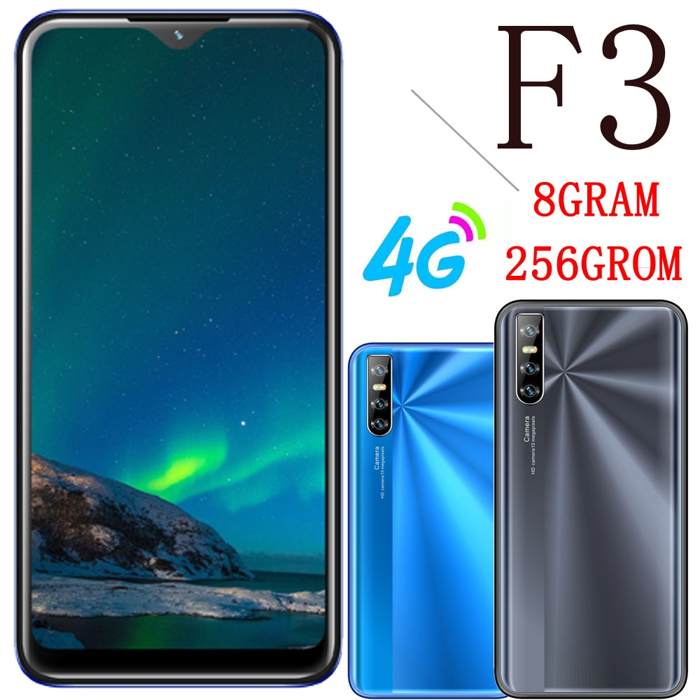 4G LTE Global Version Smartphones F3 Celular 8G RAM+256G ROM 6.26inch 5MP+13MP HD Camera Android Mobile Phones unlocked face ID