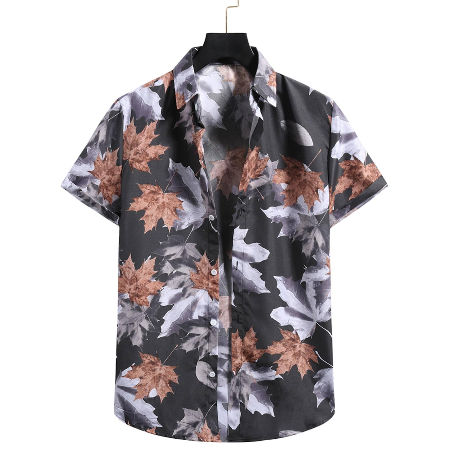 MensShort Sleeve Shirts Cardigan Hawaiian Beach Flower For Men Turtleneck Shirt Chemise Homme shirts for men