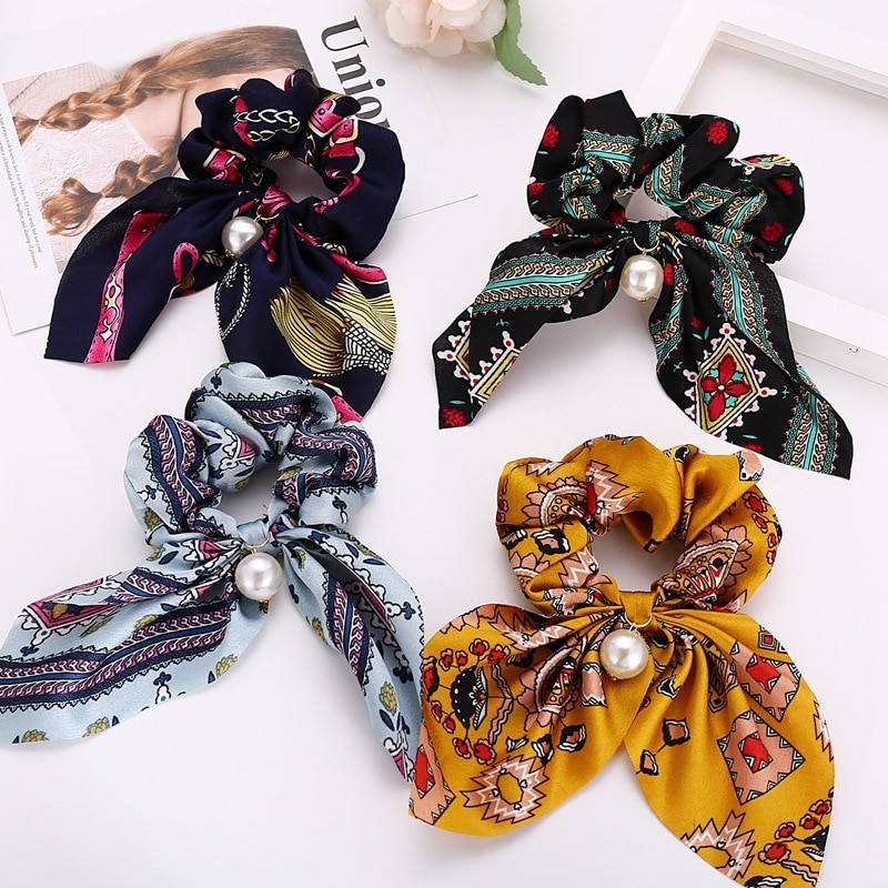 Fashion Hair Scrunchies Jewelry Ponytail Holder Bow Elastic Hair Accessories For Women Scarf Bow Tie