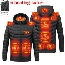 2021 NWE גברים חורף חם USB חימום מעילי חכם תרמוסטט טהור צבע סלעית מחומם בגדים עמיד למים מעילים חמים