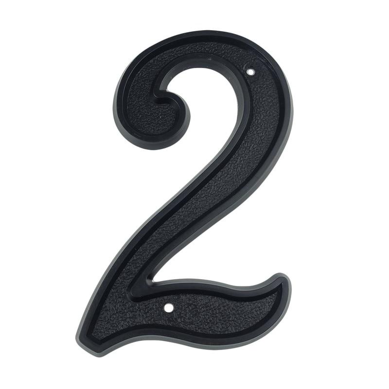 139mm Big 3D House Number Door Home Address Numbers for House Number Digital Door Outdoor Sign 5.5 Inch. #2 Black ABS Plastic