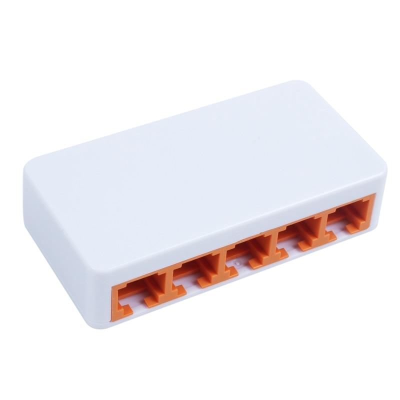 DIEWU 5 puertos Ethernet rápido RJ45 10/100Mbps red conmutador Centro de escritorio del ordenador portátil de viaje Lan Hub poder por Micro-