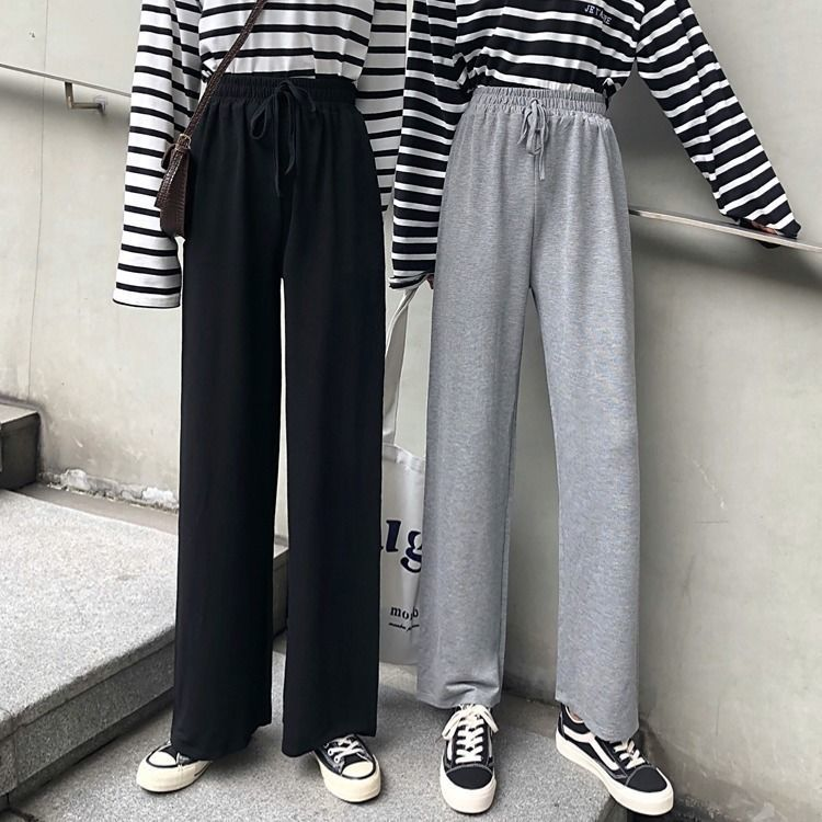 Summer new student wide leg straight pants female slim thin loose leisure sports long