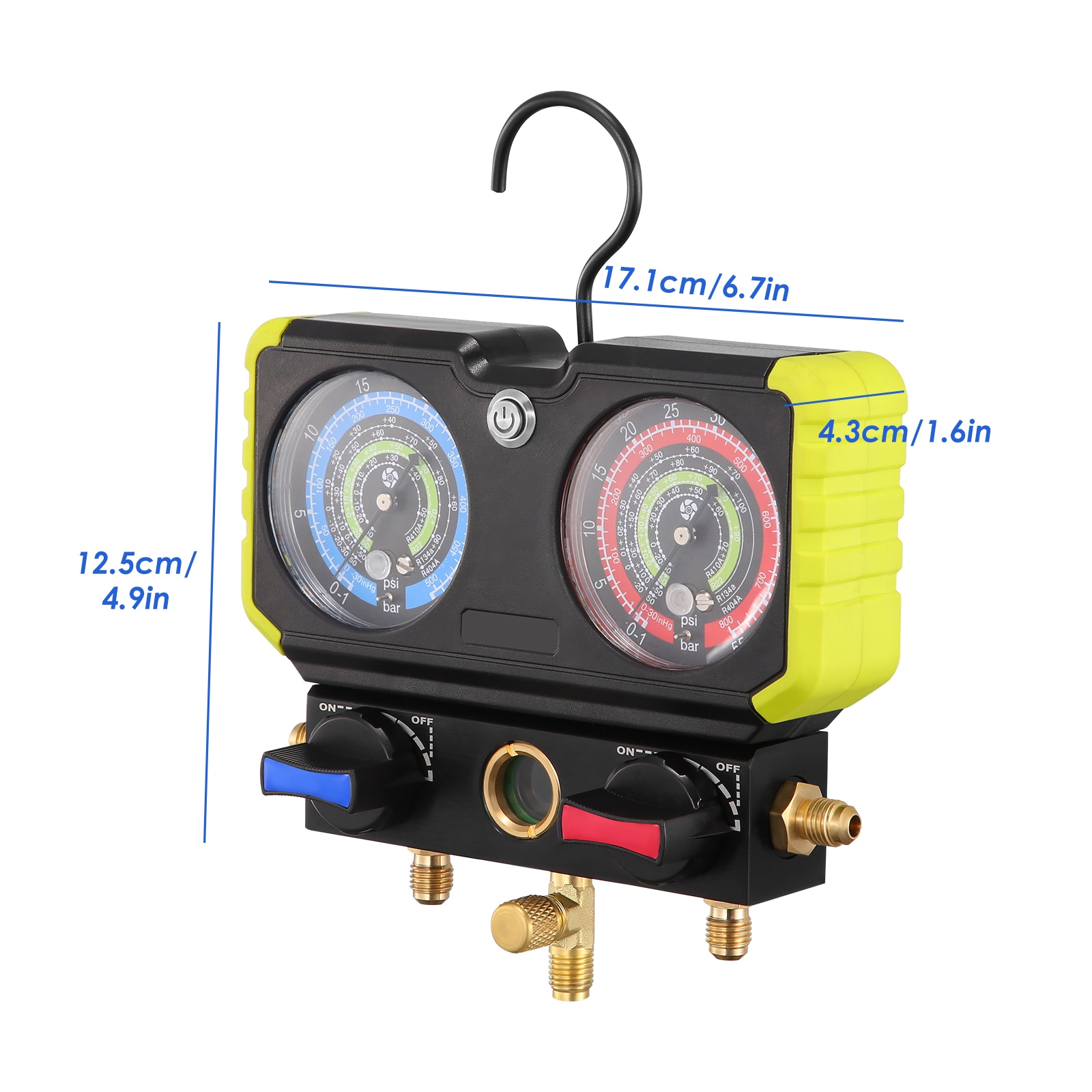 3Way AC Diagnostic Manifold Gauge Set For Freon Charging FitsR134A R410A R22Refrigerants With Upgraded Gauge Shell enlarge