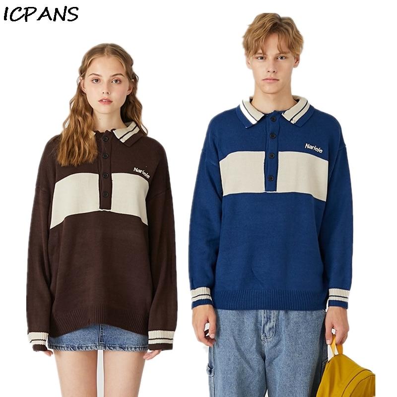 ICPANS Striped Hip Hop Sweaters Man 2019 Blue Brown Oversized Loose Pullovers Sweater Men Women Turn Neck Korea Style