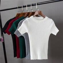 T-shirts pour femmes filles à tricoter pull extensible pulls T-shirts haut pour femme