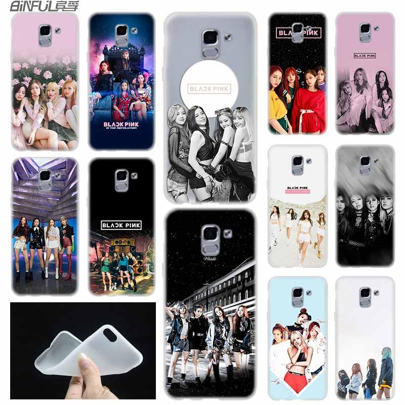 Funda de teléfono suave Coque para Samsung Galaxy J6 J8 J3 J5 J7 J4 2015 2016 2017 EU 2018 Prime Pro negro Rosa kpop BLACKPINK