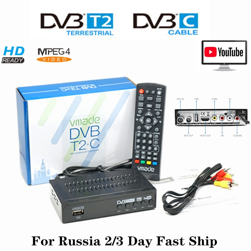 Vmade HD Digital TV Decoder DVB-T2 DVB-C DVB-T Tuner Combo TV Box H.264 Terrestrial Receiver USB M3U Youtube Fast Ship Russia недорого