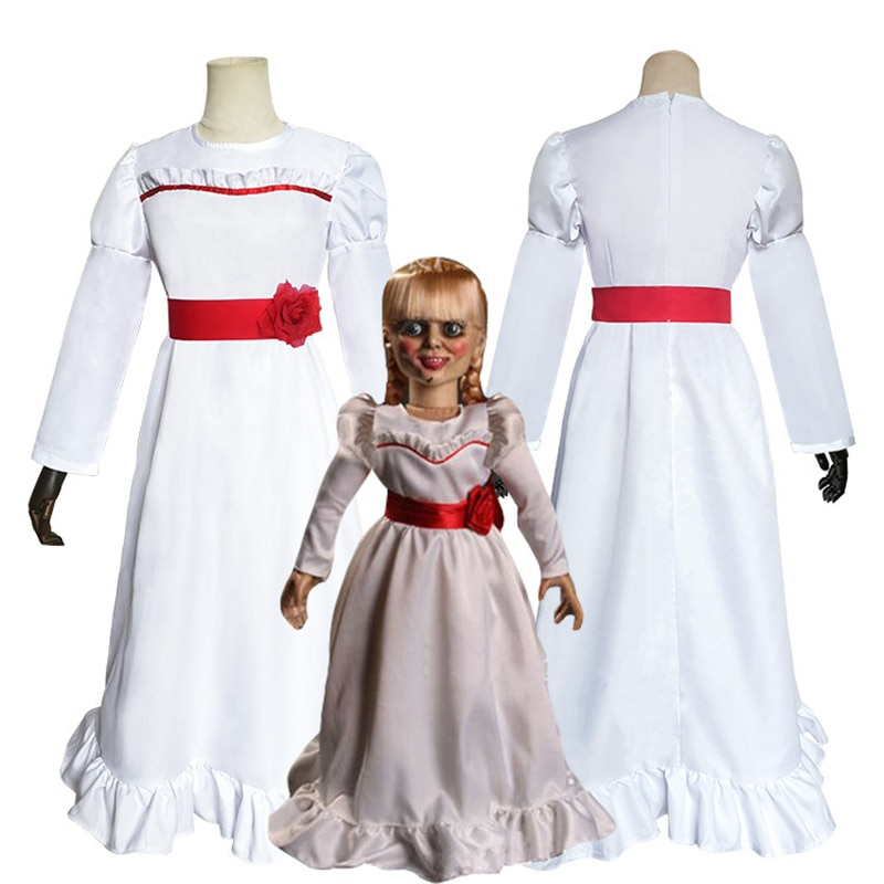 Movie ConjingDoll Annabelle Dress Cosplay Costumes Ghost Doll White Princess Dress Skirt Women Girls Kids Wig Hair Halloween