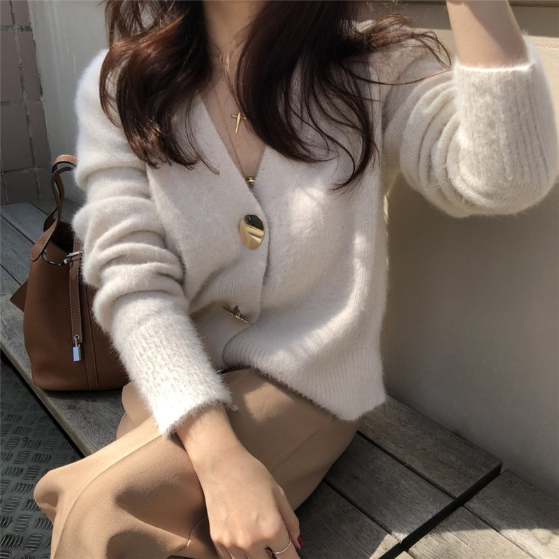 Solid Elegant Women Cardigans Casual V-Neck Cashmere Knitted Women Sweaters Coat Slim Autumn Winter