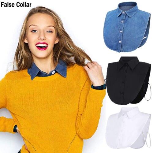 2021 Women Ladies Fake False Lapel Half Shirt Style Blouse Detachable Removable Collar Unisex Men Wo