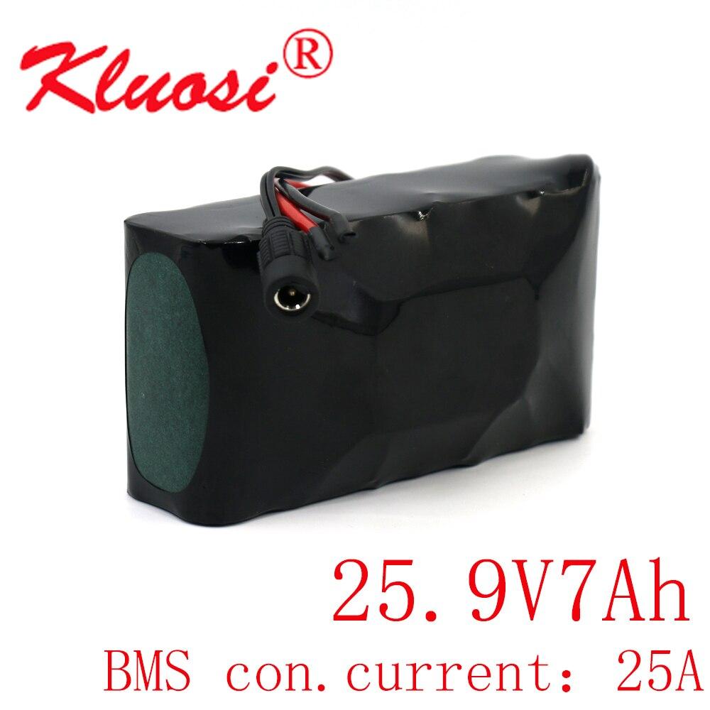 KLUOSI-بطارية ليثيوم للدراجة الكهربائية والسكوتر ، 24V ، 7ah ، 25.2V ، 7S2P ، 29.4V ، BMS متكامل ، 25a