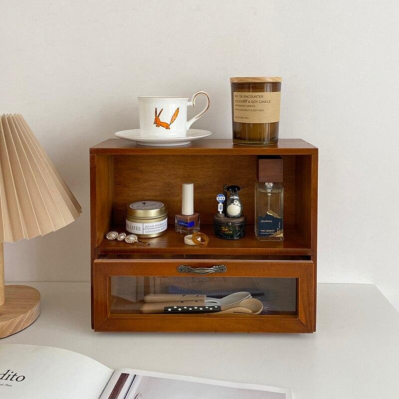 خزانة تخزين مكتب من الخشب الصلب الرجعية ، خزانة طاولة صغيرة لمستحضرات التجميل