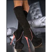 2020 mode piste daim Stretch cuir bottes genou haut bout rond plate-forme hauts talons minces hiver Stripper Sexy robe chaussures