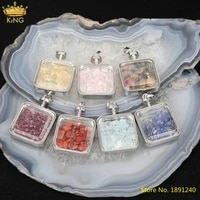 5pcslot natural roses quartz lapis stone chip beads square wish bottle pendant necklace meditation healing jewelry ls lt 65kbg